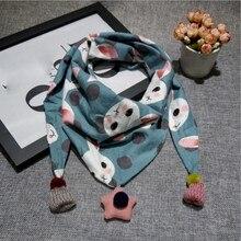 Детские хлопковые носки Треугольники шарф для девочек, для мальчиков; цветные помпоны; шарф для малышей; модный шарф воротник детей осень-зима шаль