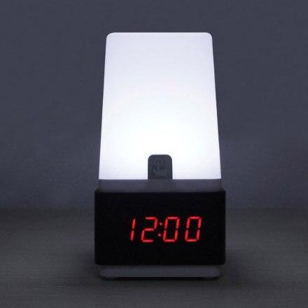 Livraison gratuite led tactile capteur numérique électronique réveil muet rétro lumière vocale chevet bois horloge - 2