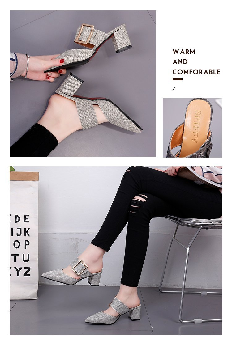 2019spring New Thick with Muller Shoes Women's High Heels Pointed Belt Buckle Back Air Slippers Elegant Temperament Baotou 3