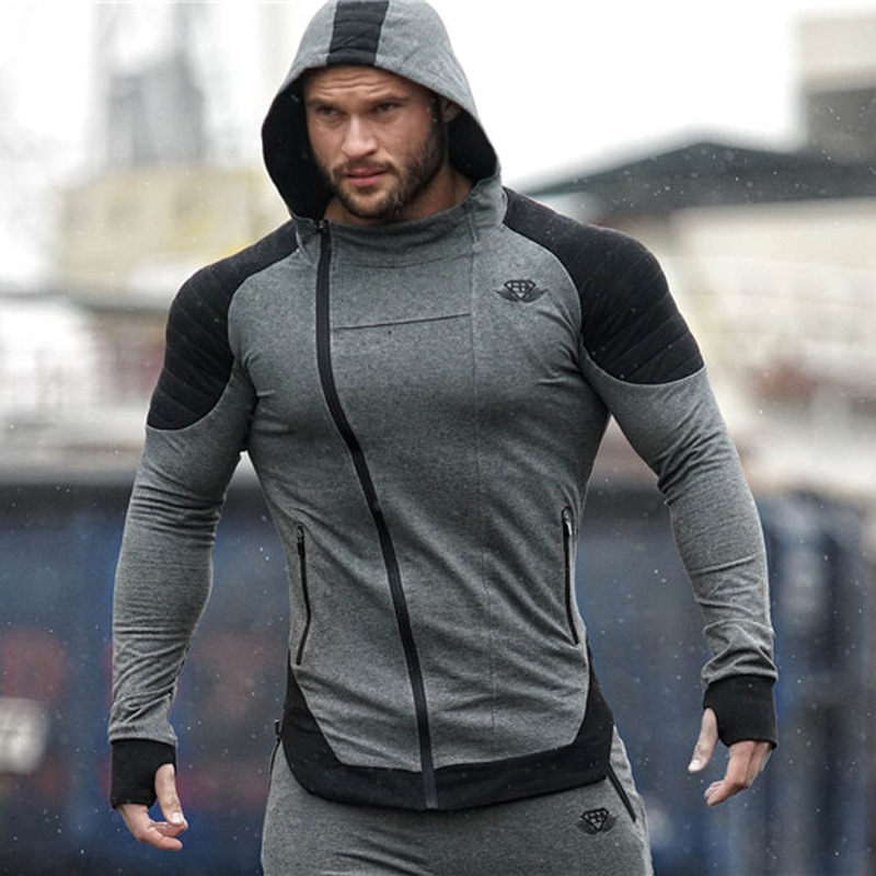 Men Running Jacket Jogging Sports Sportswear Training Fitness Exercise Gym Jacket Hoody Pocket Long Sleeve zippered sleeve pocket design stand collar jacket for men