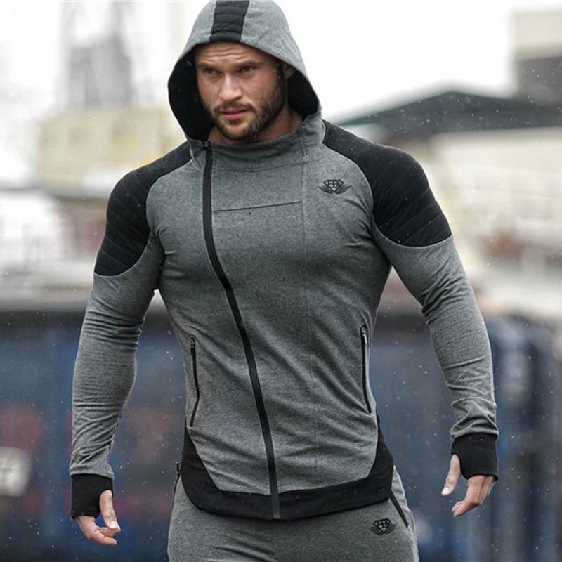 Hommes veste de course Jogging sport vêtements de sport entraînement Fitness exercice veste de gymnastique à capuche poche à manches longues