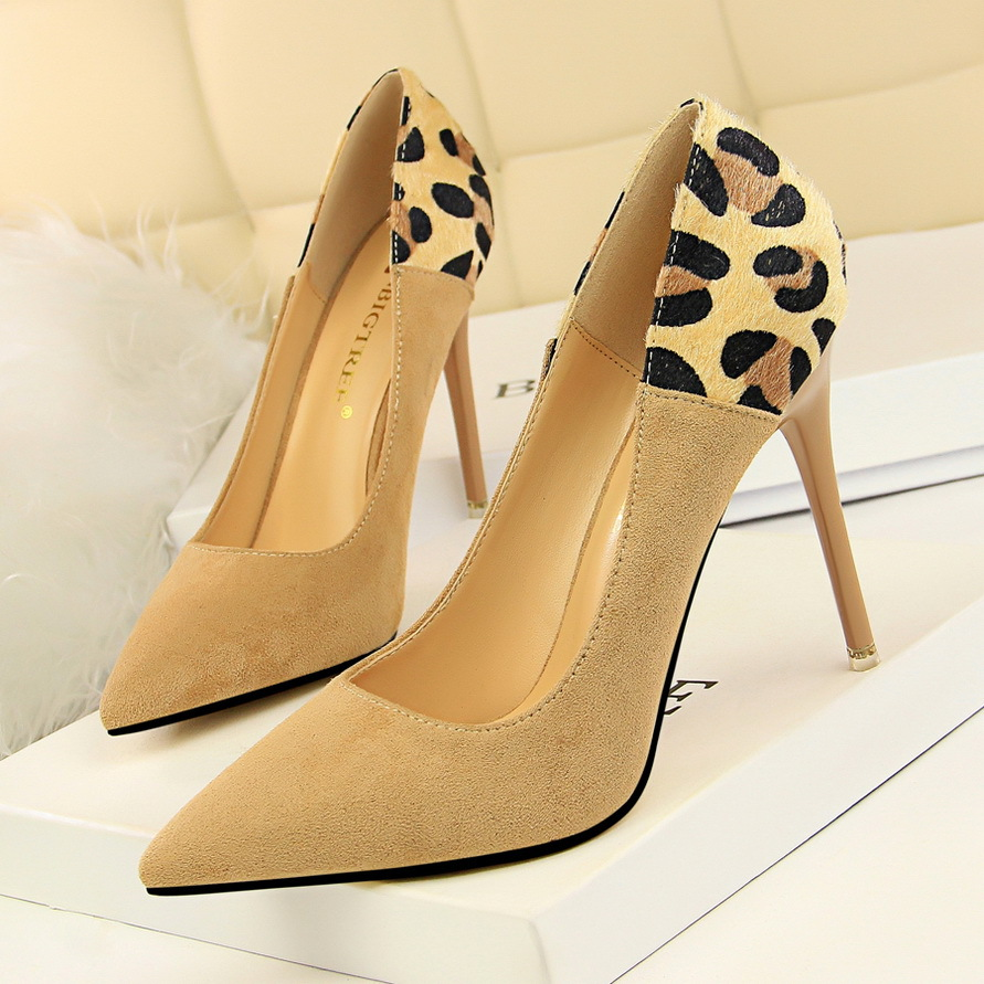 Women pumps high heels flock ladies shoes fashion pointed toe sexy leopard mix color stiletto party shoes woman plus size цена