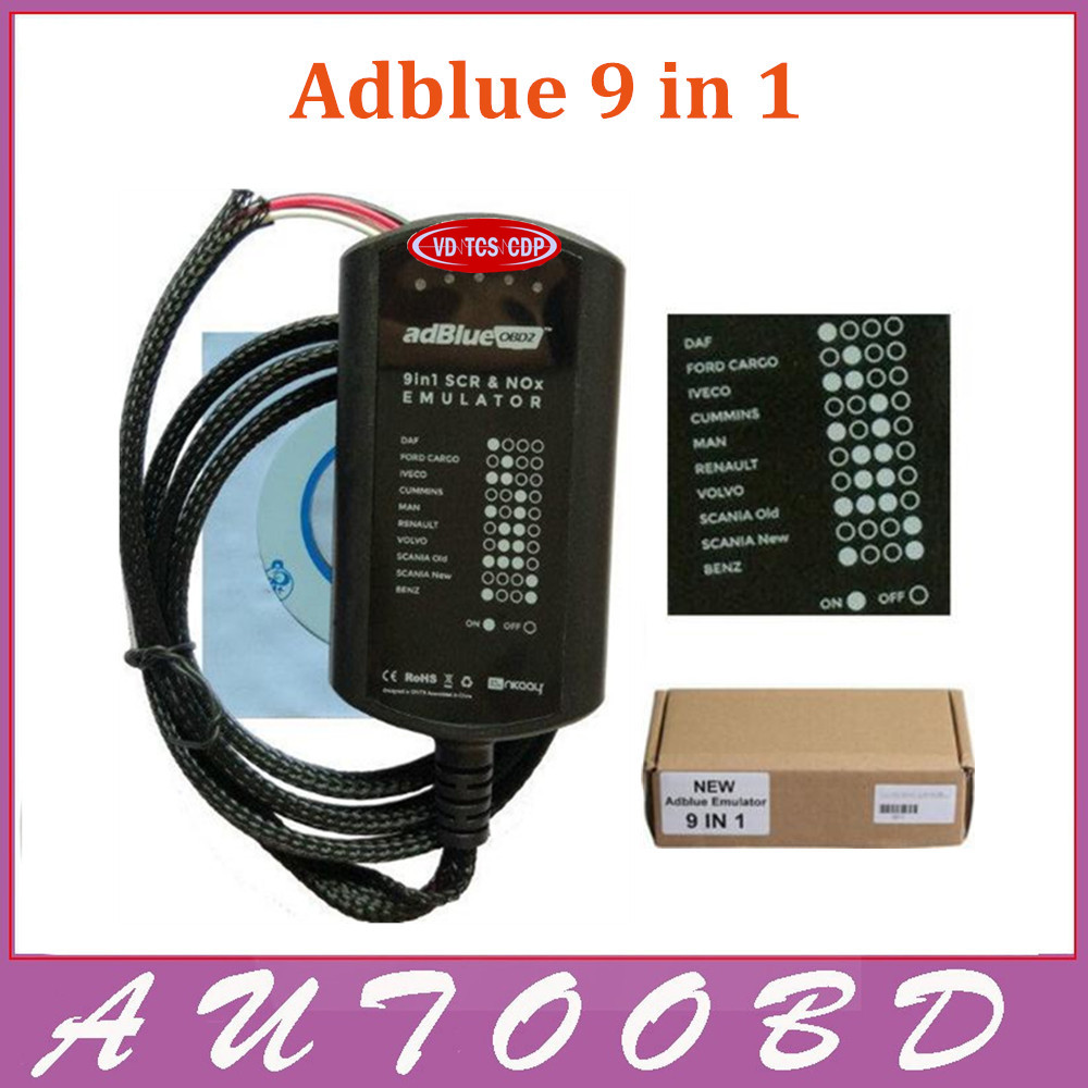 High Quality Adblue Emulator 9 in 1 Diesel Truck Diagnostic AdBlue Emulation 9in1 For Trucks Buses and Heavy Vehicles EURO 4& 5  цены