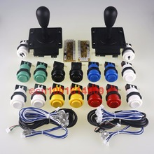 New 30mm 16x Happ Standard Arcade Push Buttons With Microswitch Gamepads Cables 5V Encoder To Arcade