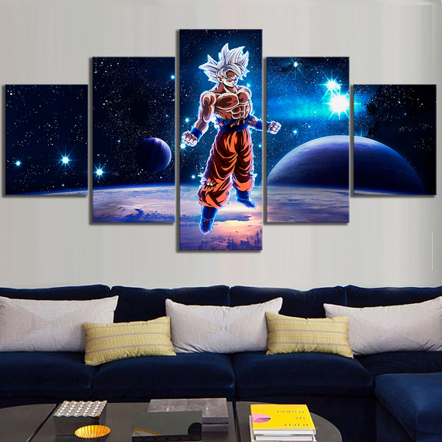 5 Piece Animation Art Dragon Ball Super Cartoon Pictures Wall Painting for Living Room Wall Decor