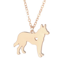 Gold & silver 1pc German Shepherd Necklace Dog Jewelry Breed Pet  Gifts Dog Memorial Gift New Puppy Doggy Rescue for lovers