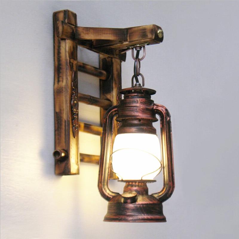 Bambou Fer Lanterne Murale E27 Créative Intérieur Vintage Led Lampe dhQCxtrsBo