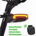 X5 Inteligente Controle Remoto Bicicleta Luz Da Cauda Da Bicicleta Do Laser Da Bateria Levou Luzes de Advertência Hot CE