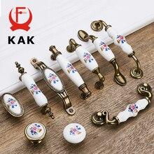 KAK 5 шт./лот, антикварные бронзовые керамические ручки для шкафов из цинкового сплава, ручки для ящиков, дверные ручки для шкафа, ручки для мебели Morning Glory