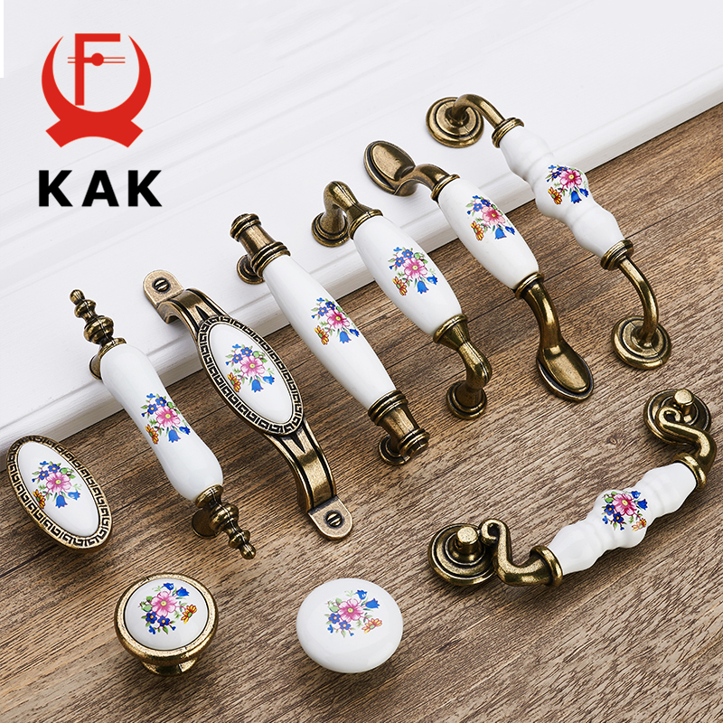 KAK 5pcs/lot Antique Bronze Ceramic Cabinet Handles Zinc Alloy Drawer Knobs Wardrobe Door Handles Morning Glory Furniture Handle hot selling ceramic zinc alloy kitchen cabinet furniture knob cupboard door pulls drawer wardrobe knobs handles 5pcs lot