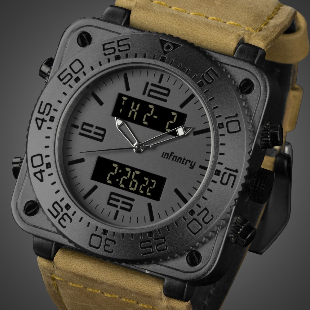 Analog Digital Military Square Tactical Army Watches For Men