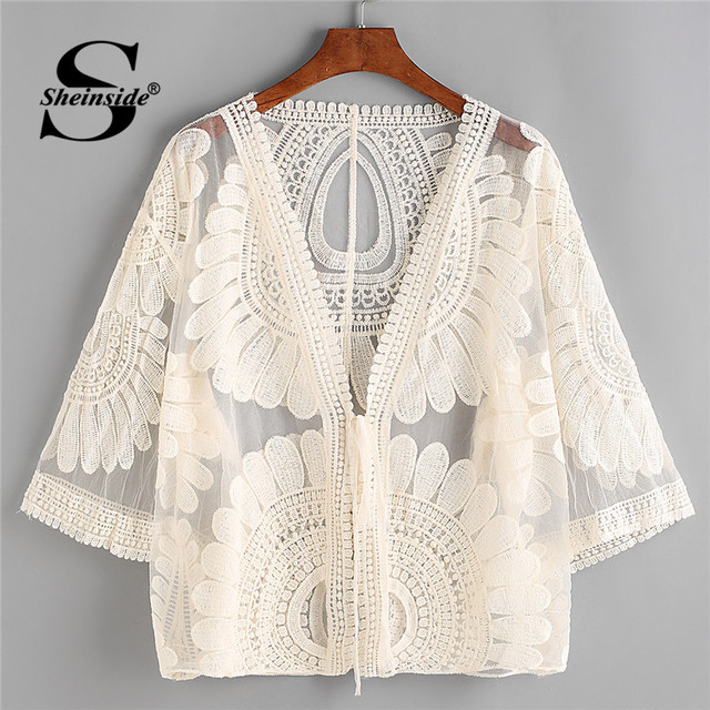 Sheinside Beige Embroidered Boho Kimono Cardigan Women Sheer Mesh Crochet Plain Elegant Top Summer Vacation Casual Kimono