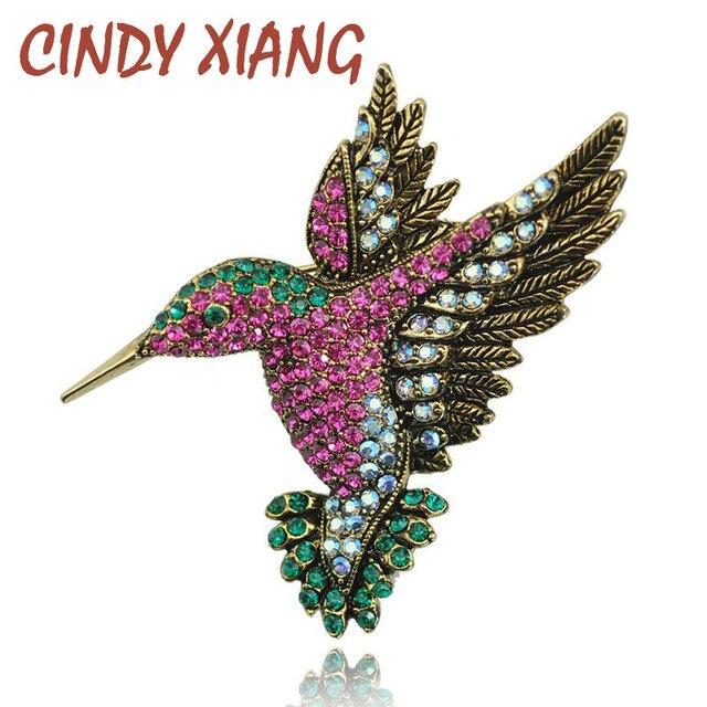 CINDY XIANG Colorful Rhinestone Hummingbird Brooch Animal Brooches for Women Kor