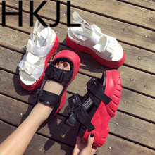 HKJL Fashion 2019 new platform sandals for women summer han one-toe buckle student-wide A398