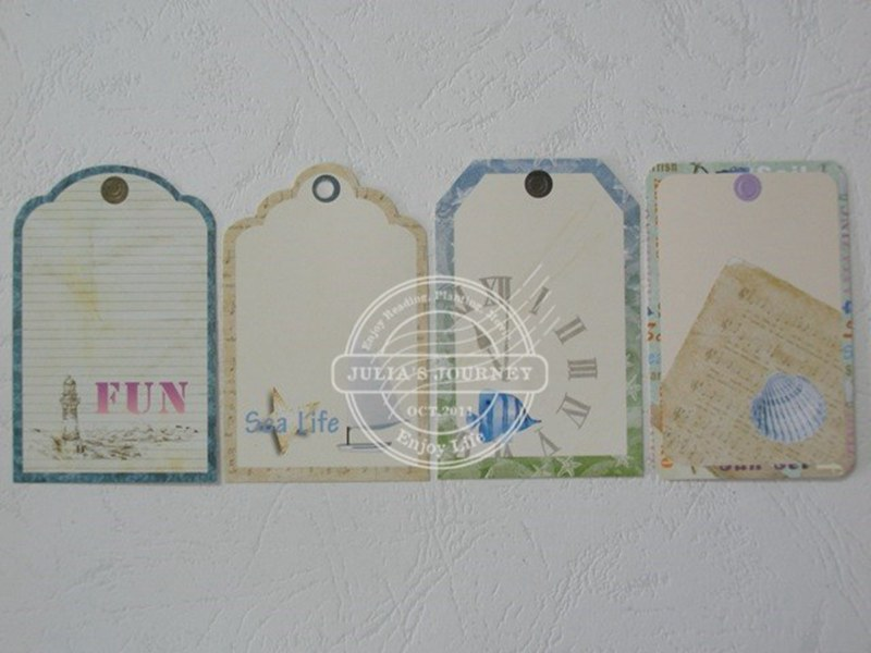Free Shipping Ocean series 24pcs 45*70mm  Lovely  Printed Message Cards Bookmarks DIY Features Card 026008008