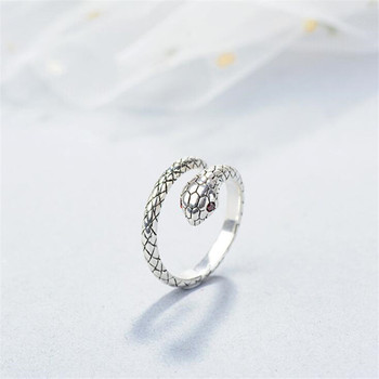 Beautiful Personality Temperament Animal 925 Sterling Silver Jewelry Not Allergic Red Crystal Snake Opening Rings  SR232