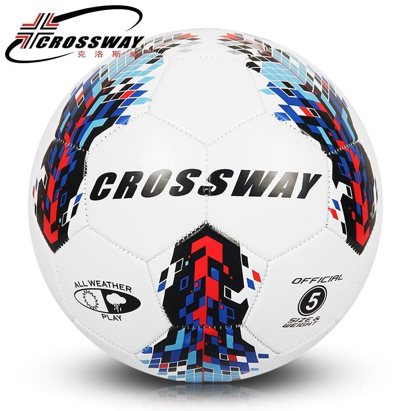 CROSSWAY ბრენდის ოფიციალური ზომა 5 ფეხბურთის ბურთი PU გრანულა დახრილი მდგრადი ფეხბურთის მომზადების პროფესიონალი Soccer Ball მატჩის ბურთები