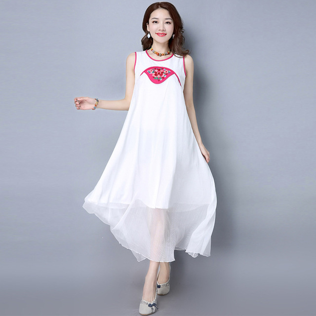 3018787d7e0 Most Popular 2017 New Style Summer Dress Women China Style Vintage Vest  Dress Fashion Girl National Wind Embroider Loose Dress
