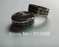 FREE SHIPPING!USA HOT SELLING E&C JEWELRY NEW 8MM MENS STAINLESS STEEL GOLD/SILVER MASONIC FOIL & BLACK CARBON FIBER INLAY RING