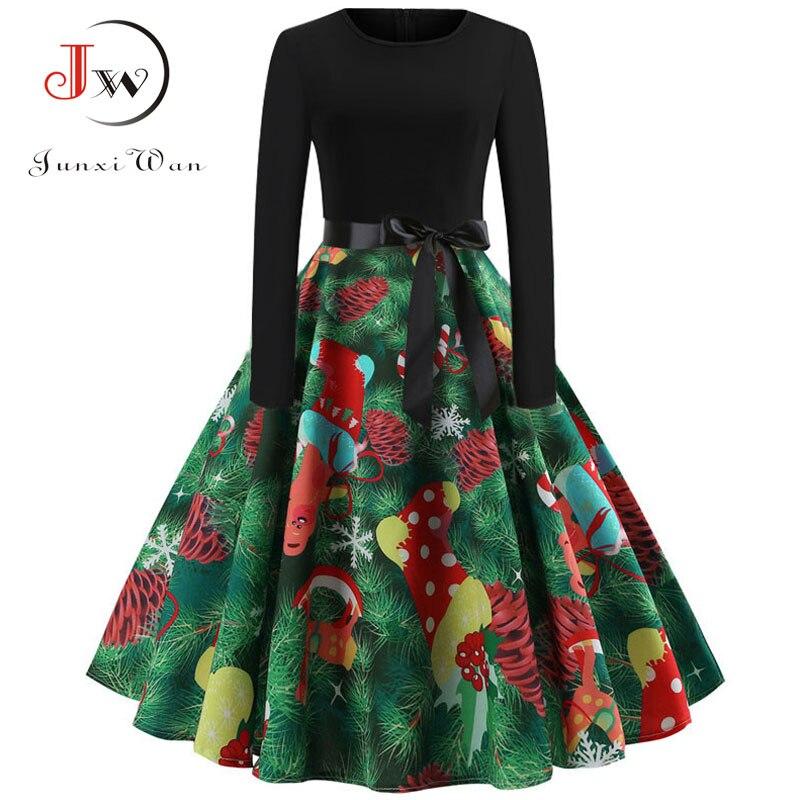 Winter Women Christmas Dress Long Sleeve Print Vintage Party Dress Elegant Black Patchwork Bodycon Dresses Vestidos Plus Size 25