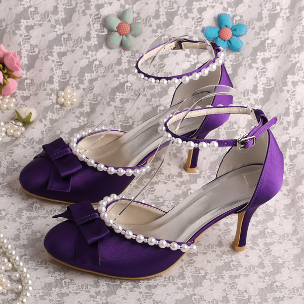 ФОТО Wedopus Bridesmaid Purple Shoes Ankle Strap Bridal Pumps Sandals with Pearl 8cm Heel