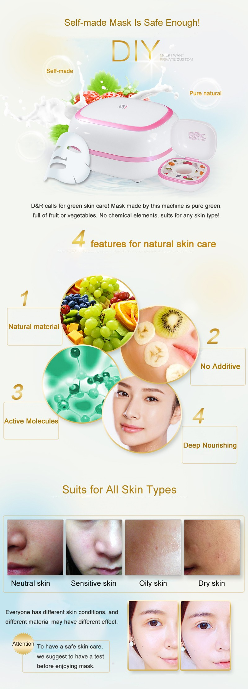 DIY Fruit Facial Mask Machine Maker Vegetable Skin Care Tool Moisturizing Whitening 11