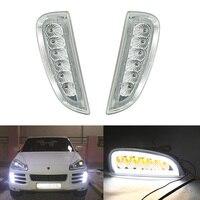 Прозрачный объектив дневного света светодиодный DRL положение света для Porsche Cayenne 2006 2010 07 08 3 функции в 1 указатель поворота