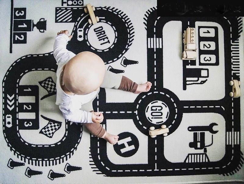 Baby Play Mat Soft Crawling Rugs Car Track pattern Puzzles Learning Toy 90*140cm Nordic Style Kids Room Decoration Floor Carpet