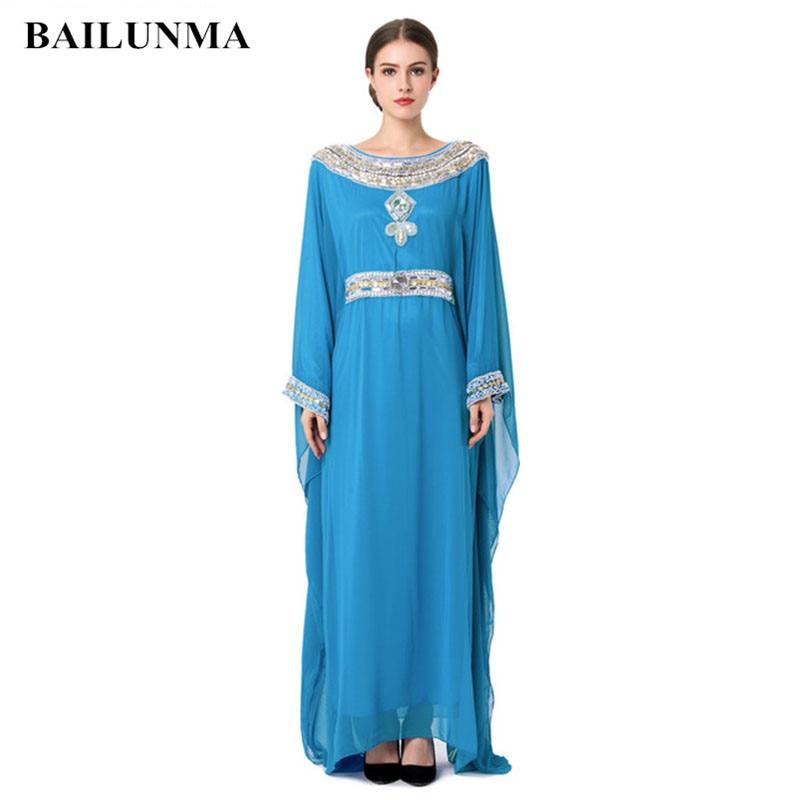 2019 Embroidery Long Sleeve Muslim Dress Gown Dubai Moroccan Kaftan Clothing Caftan Islamic Women Abaya Turkish Arabic Dress