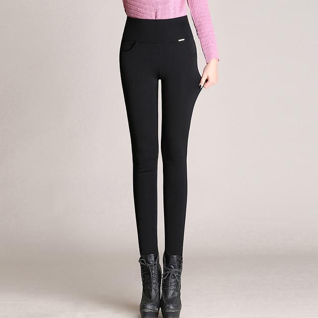 Plus Size Office Lady Slim Elegant Pencil High Waist Stretch Leggings 5