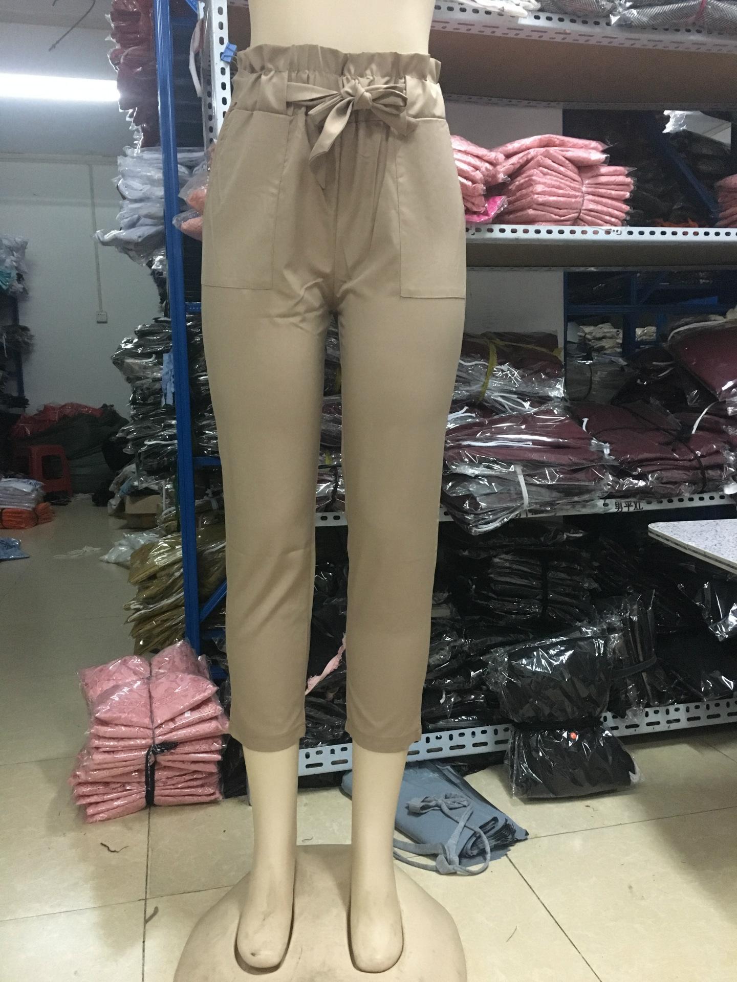 19 New Brand High Elastic Waist Harem Pants Women Spring Summer Fashion Ninth Pants Female Office Lady Black Trousers Belt 11