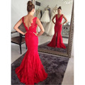 Sexy Split Mermaid Mother of the Bride Dresses V Neck Cap Sleeve Red Lace Floor Length Long Custom Formal Guest Dress