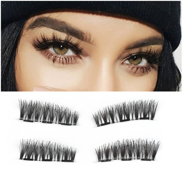 1 Set New 100 Human Hair Triple Magnetic False Eyelashes Makeup