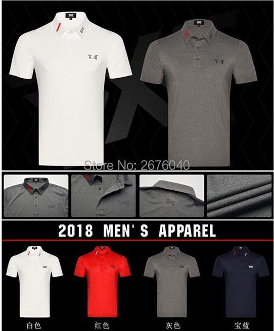 PXG Golf T-shirt mens Sportswear Short sleeve Golf T-shirt 4colors Golf clothes S-XXL in choice Leisure Golf shirt Free shipping stylish jewel neck half sleeve puppy print women s t shirt