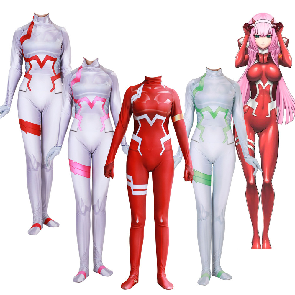Japanese Anime 3D Women DARLING in the FRANXX 02 Zero Two Cosplay Costume Zentai Bodysuit Suit Jumpsuits   Halloween PARTY