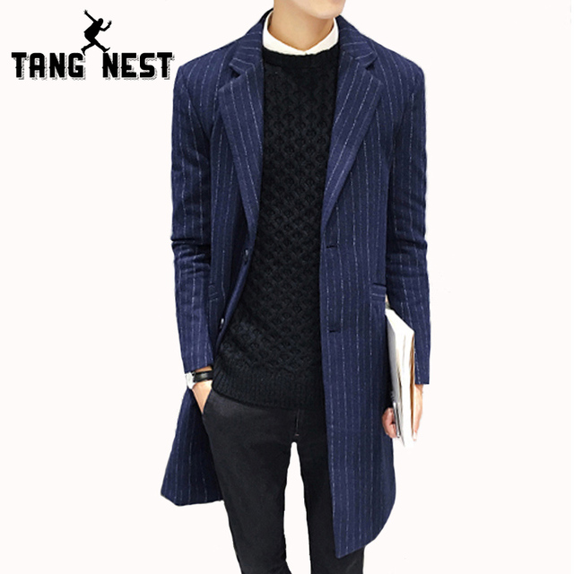 TANGNEST 2017 Autumn Fashion Business Men Jacket Striped Long Trench Coat Turn-down Collar Single Breasted Veste Homme MWD056