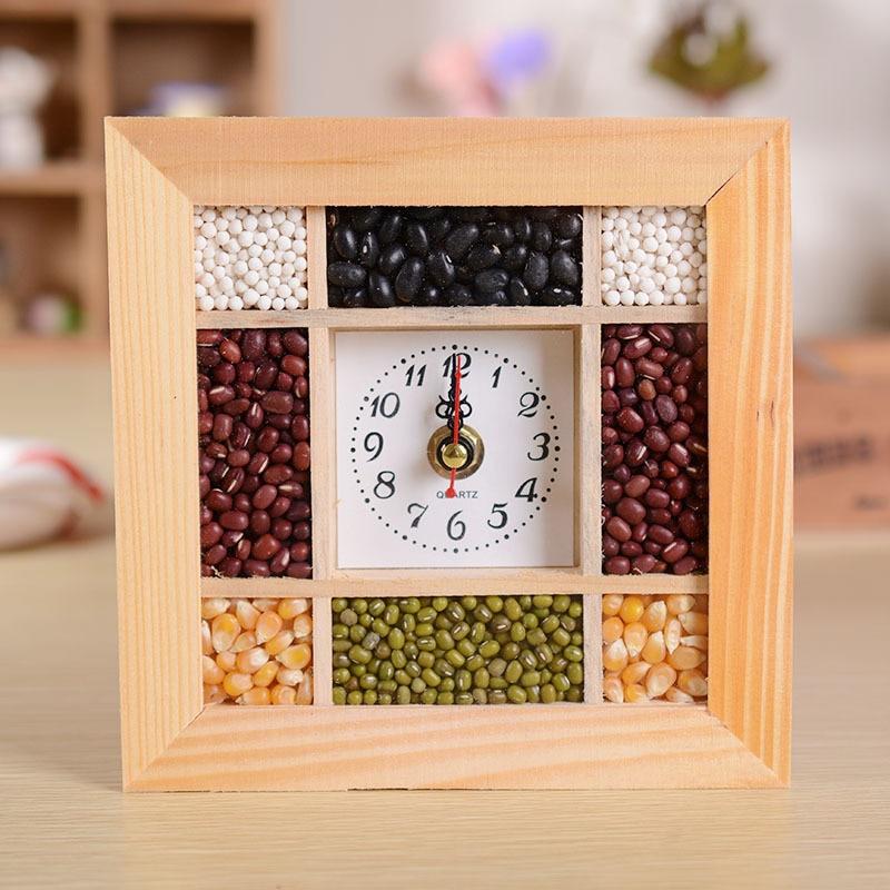 V2222 4021 osm fazolí nástěnné hodiny, nástěnné hodiny z jemného zrna, morální přání, hodinky, domácí dekorace