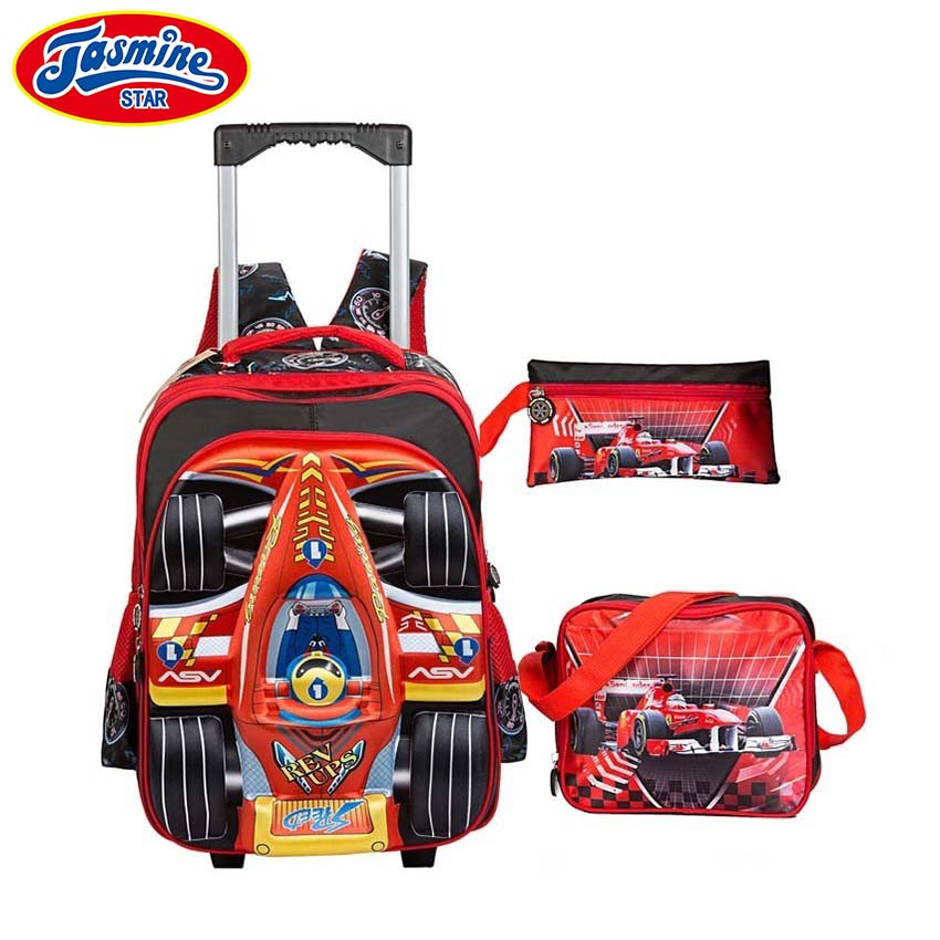JASMINESTAR Childrens Backpacks With Wheels 3PCS Kids 3D Rocket Trolley Wheeled Bag Character School Backpacks For Boys