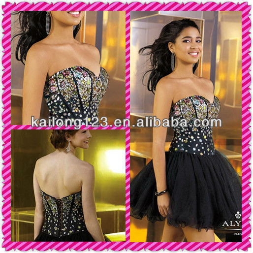 d96a707ea1d Newest Sweetheart Multi-color Gems Corset Boning Bodice Drop Waist Ball Gown  Black Tulle Lace Up Back Short Puffy Dresses