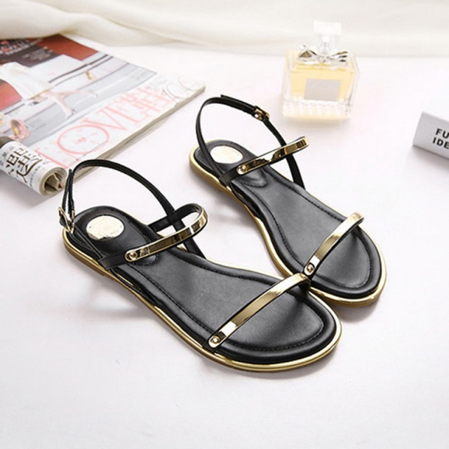 2016 Summer Women Flat Sandals Plus Size 34-43 Open Toe Soft Leather Glitter Women Sandals Brand Designer Flat Shoes XWF0433-5