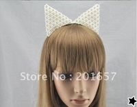 Wholesale And Retail Fashion Party Cat Design Pearl Hairband Hair Accessory Headband Assorted Colors 12pcs Lot