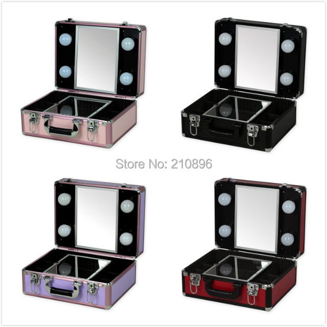 New Type Portable makeup case with lights light weight makeup box with  mirror 5 coloursNew Type Portable makeup case with lights light weight makeup box  . Portable Vanity Mirror With Lights. Home Design Ideas
