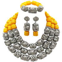 Fashion Yellow Artificial Coral Beads Nigerian Beads Jewelry Set African Wedding Jewelry Sets FSH 013