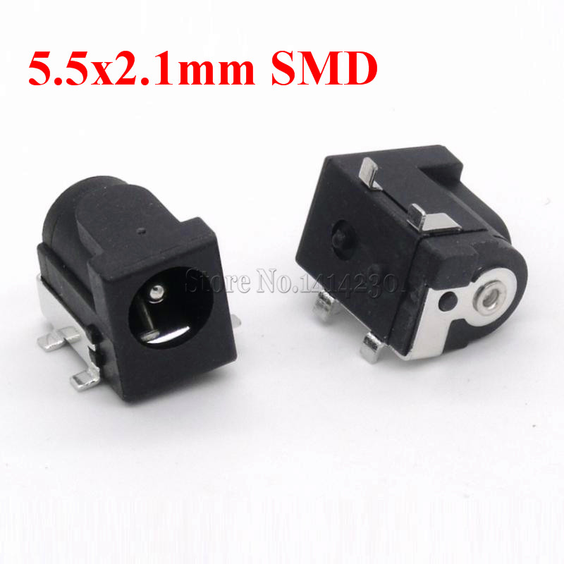 SMD DC-005 DC-050 DC Power Jack Socket Connector DC005 5.5*2.1mm / 5.5*2.5mm <font><b>2.1</b></font> / <font><b>2.5</b></font> socket Round the needle Black Color image