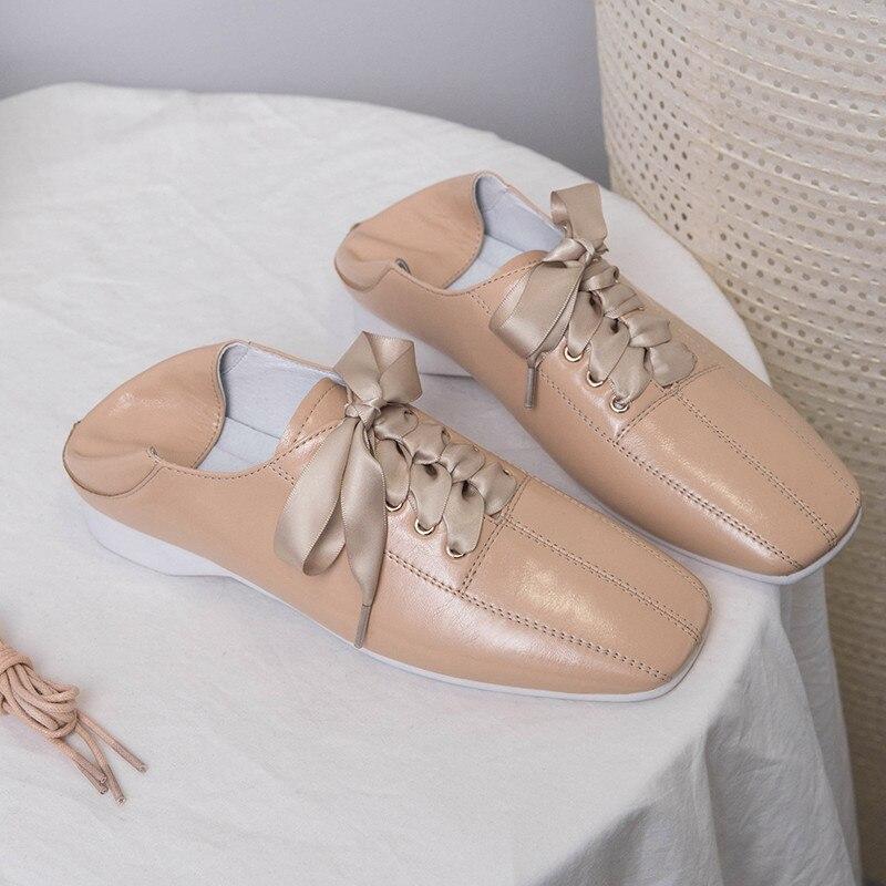noir Pour Masgulahe Femme À Véritable Décontracté apricot Printemps En Appartements Lacets Automne Bout Nouvelle 2019 Carré Femmes Chaussures Mode Pink Cuir Nude ZPXOuki