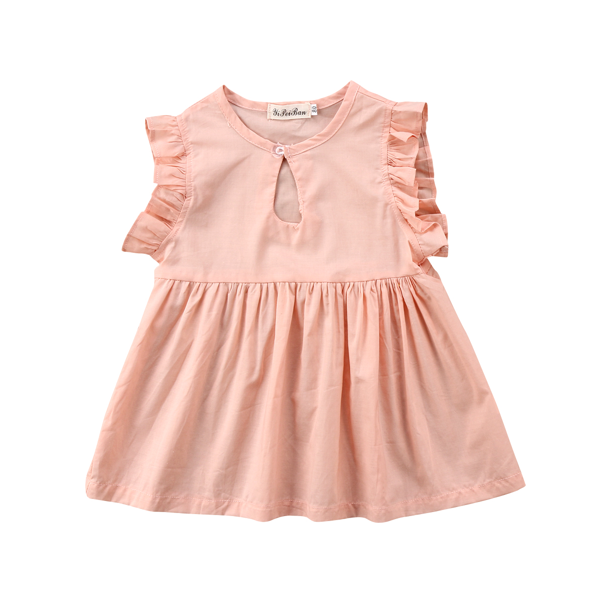 2018 Toddler Kid Baby Girl Pink Soft Sundress Flying Sleeves Outfits Jumpsuit Sweet Dresses Summer Clothing