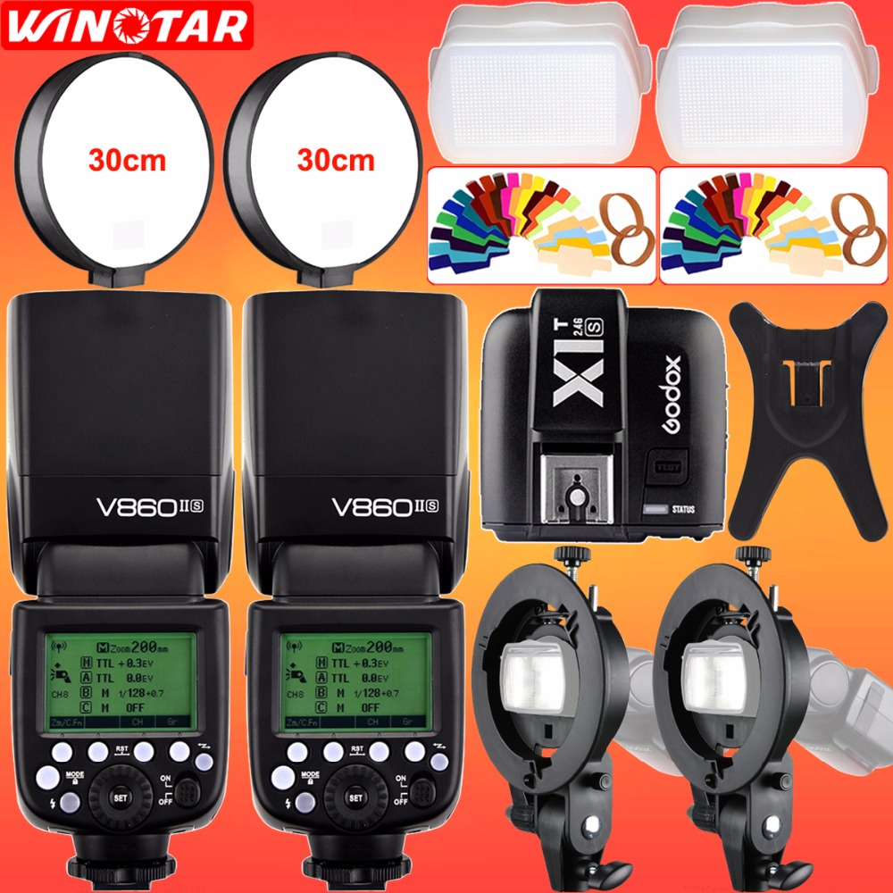 2X Godox V860II-S TTL 2.4G Wireless HSS 1/8000s Li-ion Battery Camera Flash + X1T-S Trigger + Bowens Bracket for SONY MI Camera godox v860iis flash speedlite 2 v860ii s ttl hss 2 4g li ion battery x1t s trigger for sony dslr cameras supon free gift kit