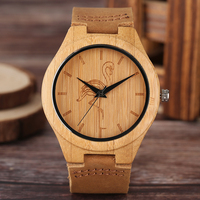 Männer Bambus Holz Kreative Uhren Katze/Kran/Hund Thema Zifferblatt Holz Quarz-armbanduhr Männer Sport Gunuine leder Band