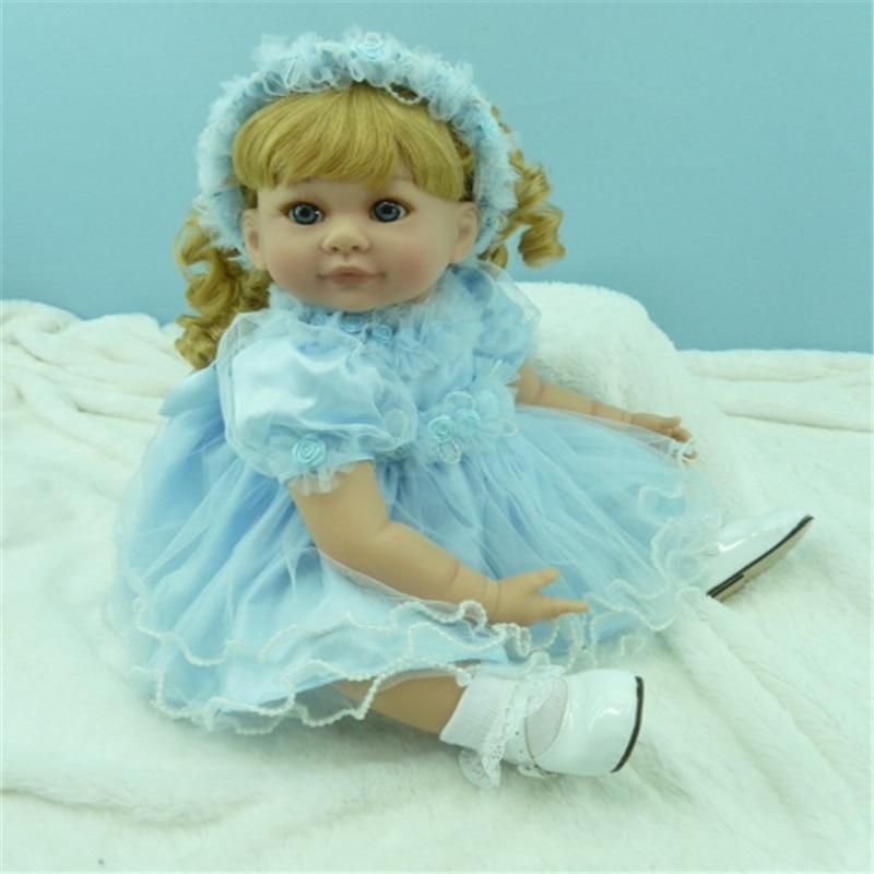 20 pouces 50 cm reborn Silicone poupées, réaliste poupée reborn bébés jouets ciel bleu gaze jupe blonde cheveux fille