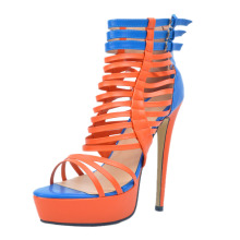 Women Shoes Summer Fashion Pumps Peep Toe High Heels Platform Orange Pumps with Gladiator EU34-43 Plus Size Shoes